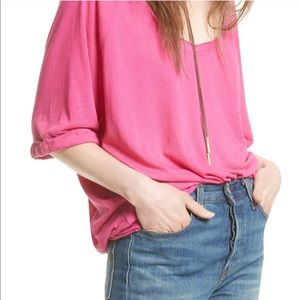 Free People Moonlight Tee Hot Pink size S